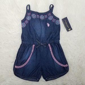 US Polo Assn Romper Dress Sz 4 Blue C10